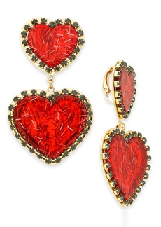 INC International Concepts Inc Gold-Tone Resin Double Drop Heart Clip-On Earrings, Created For Macy's