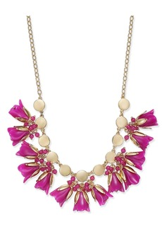 """INC International Concepts I.n.c. Gold-Tone Shaky Bead & Flower Statement Necklace, 17"""" + 3"""" extender, Created for Macy's"""