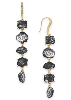 INC International Concepts I.n.c. Gold-Tone Stone & Lace Linear Drop Earrings, Created for Macy's