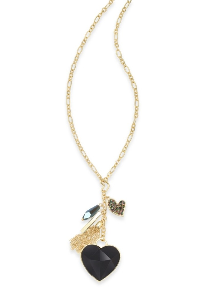 "INC International Concepts Inc Gold-Tone Stone Heart & Charms Pendant Necklace, 30"" + 3"" extender, Created For Macy's"