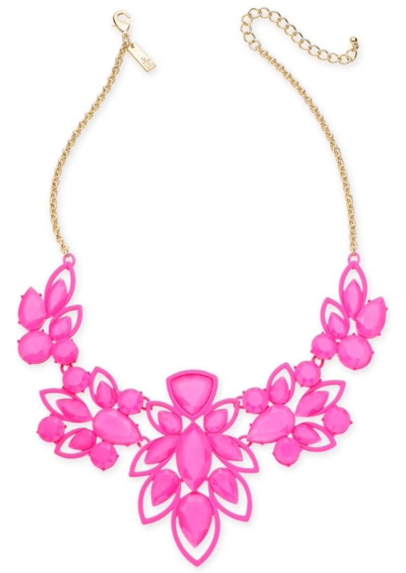 """INC International Concepts Inc Gold-Tone Stone Openwork Statement Necklace, 18"""" + 3"""" extender, Created for Macy's"""