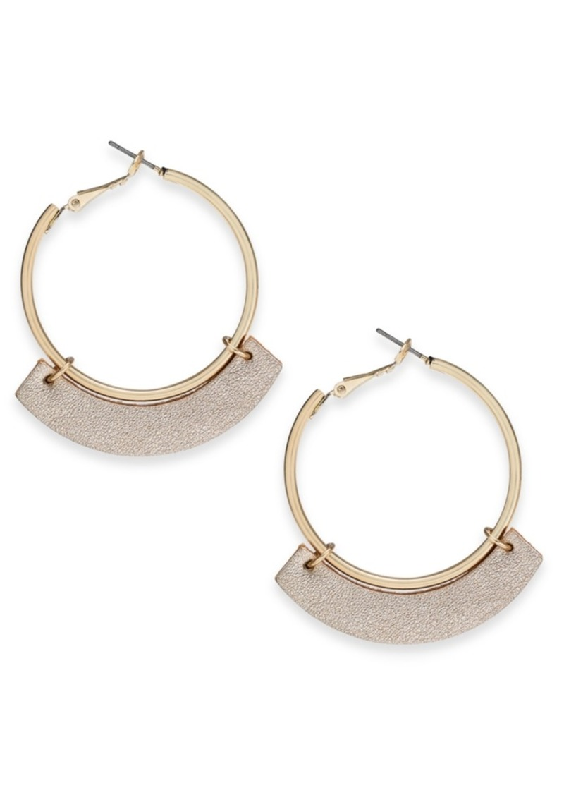 INC International Concepts Inc Gold-Tone Textured Curve Hoop Earrings, Created For Macy's