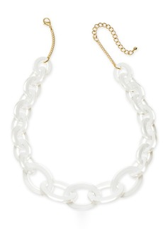 """INC International Concepts I.n.c. Gold-Tone White Link Frontal Necklace, 18"""" + 3"""" extender, Created for Macy's"""