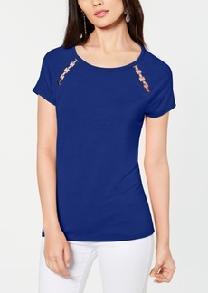INC International Concepts Inc Grommet-Trim T-Shirt, Created for Macy's