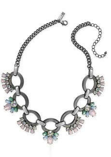 """INC International Concepts I.n.c. Hematite-Tone Crystal Link Statement Necklace, 18"""" + 3"""" extender, Created for Macy's"""