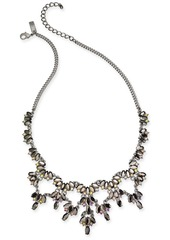 """INC International Concepts I.n.c. Hematite-Tone Marquise Stone & Crystal Statement Necklace, 18"""" + 3"""" extender, Created for Macy's"""