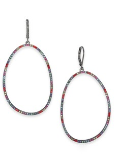 INC International Concepts Inc Hematite-Tone Multicolor Pave Oval Hoop Drop Earrings, Created For Macy's