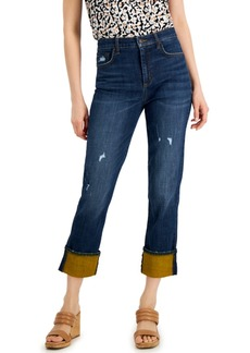 INC International Concepts Inc High Rise Contrast Cuff Straight Leg Jeans, Created for Macy's