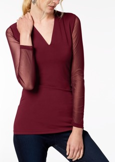 INC International Concepts I.n.c. Illusion-Sleeve V-Neck Blouse, Created for Macy's