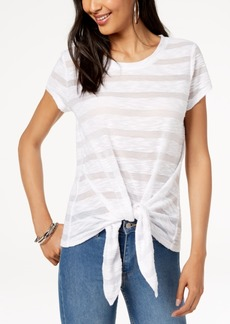 INC International Concepts Inc Illusion Tie-Front T-Shirt, Created for Macy's