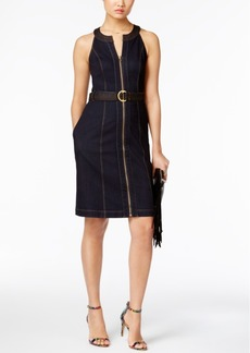Inc International Concepts Belted Denim Sheath Dress, Only at Macy's