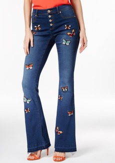 Inc International Concepts Butterfly-Patch Indigo Wash Flare-Leg Jeans, Only at Macy's