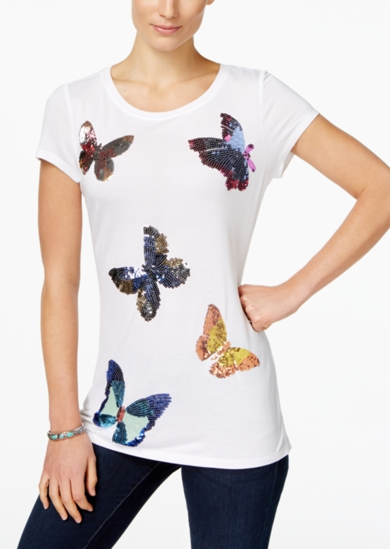 Inc International Concepts Butterfly-Print T-Shirt, Only at Macy's