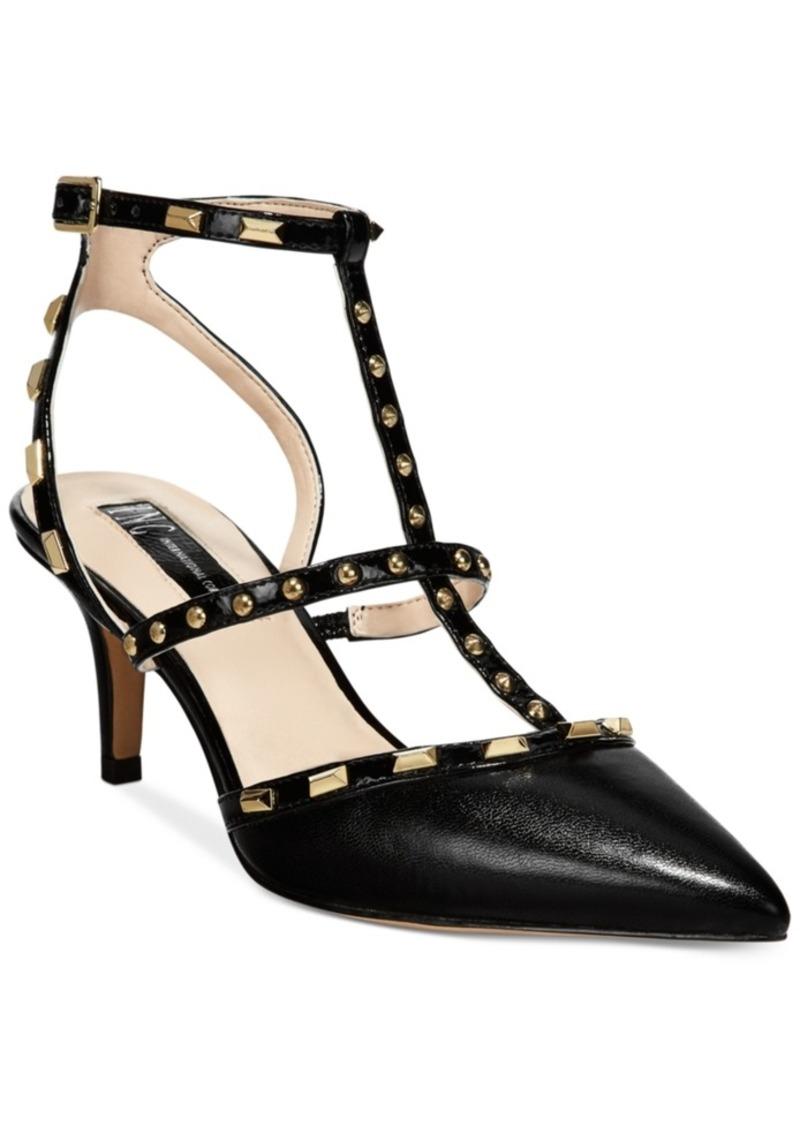 INC International Concepts I.n.c. Carma Pointed Toe Studded Kitten Heel  Pumps