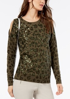 INC International Concepts I.n.c. Petite Split-Sleeve Sequined Sweater, Created for Macy's