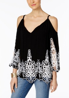 Inc International Concepts Lace-Trim Cold-Shoulder Top, Only at Macy's