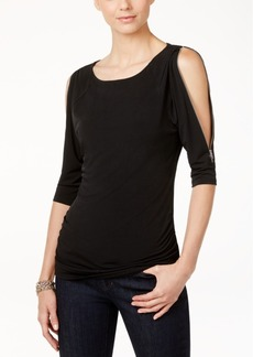 Inc International Concepts Cold-Shoulder Zipper Top, Only at Macy's