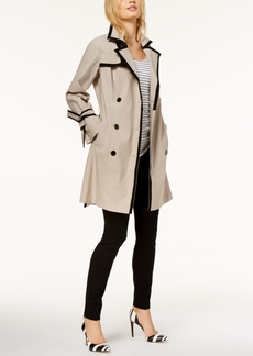 INC International Concepts I.n.c. Petite Contrast-Trim Belted Trench Coat, Created for Macy's