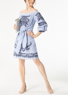 Inc International Concepts Petite Embroidered Off-The-Shoulder Dress, Created for Macy's