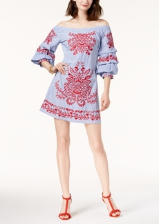I.n.c. Petite Embroidered Off-The-Shoulder Dress, Created for Macy's