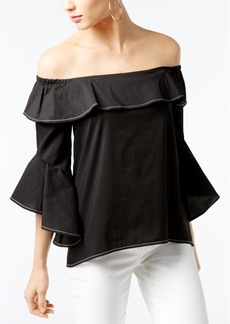 I.n.c. Petite Cotton Off-The-Shoulder Ruffle Top, Created for Macy's