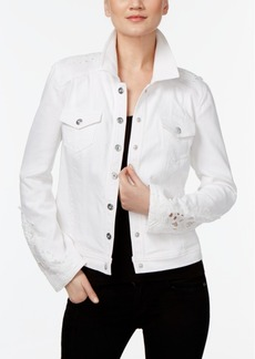 Inc International Concepts Crochet-Inset Denim Jacket, Only at Macy's