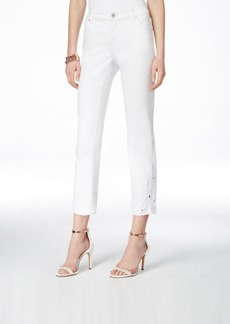 Inc International Concepts Cropped Embroidered White Wash Jeans, Only at Macy's