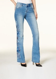 Inc International Concepts Curvy-Fit Embroidered Flare Jeans, Created for Macy's