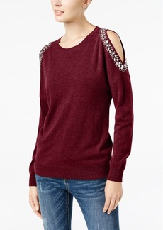 Inc International Concepts Embellished Cold-Shoulder Sweater, Created for Macy's