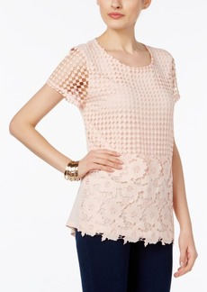 Inc International Concepts Embellished Crocheted Top, Only at Macy's