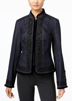 Inc International Concepts Embellished Denim Military Jacket, Only at Macy's
