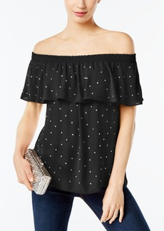 I.n.c. Petite Embellished Off-The-Shoulder Top, Created for Macy's