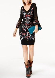 Inc International Concepts Embroidered Bell-Sleeve Mesh Dress, Created for Macy's
