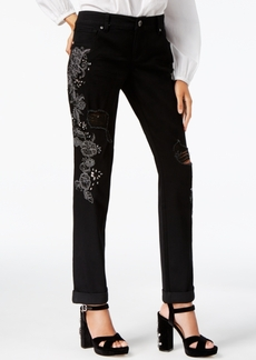 Inc International Concepts Curvy-Fit Embroidered Boyfriend Jeans, Created for Macy's