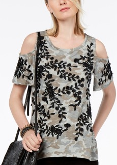 INC International Concepts I.n.c. Petite Printed Embellished Cold-Shoulder Top, Created for Macy's