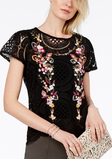 I.n.c. Embroidered Crochet Top, Created for Macy's