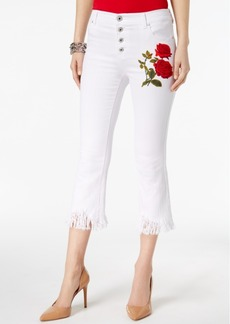 Inc International Concepts Curvy-Fit Embroidered Fringe-Cuff Jeans, Created for Macy's