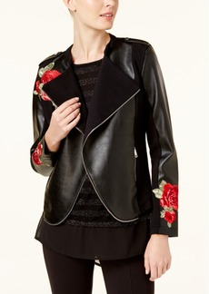 I.n.c. Embroidered Faux-Leather Moto Cardigan, Created for Macy's