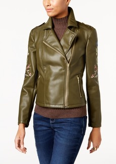 Inc International Concepts Petite Embroidered Faux-Leather Moto Jacket, Created for Macy's