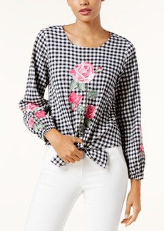Inc International Concepts Embroidered Gingham Blouse, Created for Macy's
