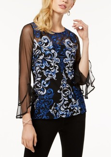 I.n.c. Petite Embroidered Mesh Top, Created for Macy's
