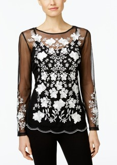 Inc International Concepts Petite Floral-Embroidered Illusion Top, Only at Macy's