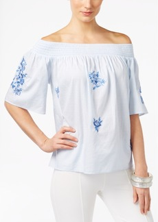 Inc International Concepts Embroidered Off-The-Shoulder Top, Only at Macy's