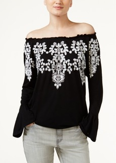 Inc International Concepts Embroidered Peasant Top, Only at Macy's