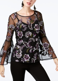 Inc International Concepts Petite Embroidered Mesh Top, Created for Macy's
