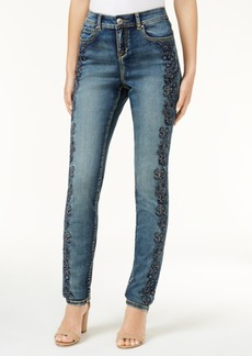 Inc International Concepts Curvy-Fit Embroidered Skinny Jeans, Created for Macy's
