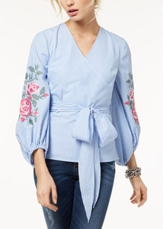INC International Concepts I.n.c. Embroidered Striped Surplice Blouse, Created for Macy's