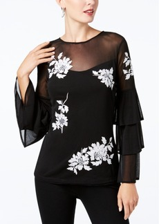 I.n.c. Petite Embroidered Tiered-Sleeve Top, Created for Macy's