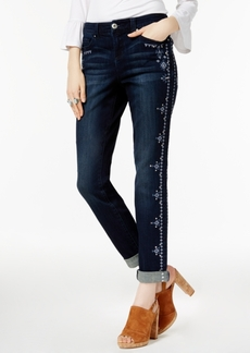 Inc International Concepts Curvy Embroidered Unicorn Wash Boyfriend Jeans, Only at Macy's