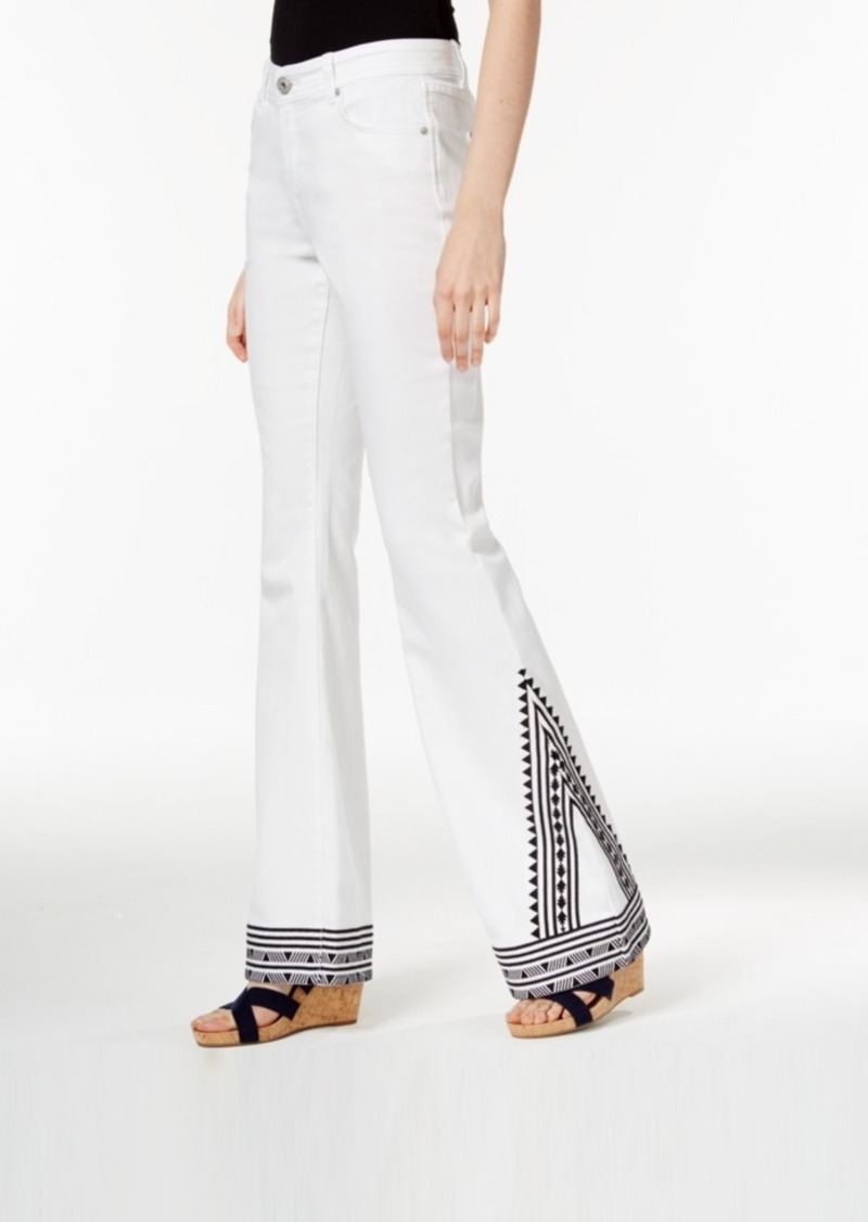 Inc International Concepts Embroidered White Wash Flared Jeans, Only at Macy's